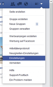 Facebook language settings step one