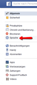 Facebook language settings step two
