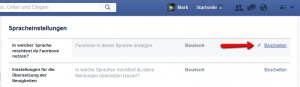 Facebook language settings step three