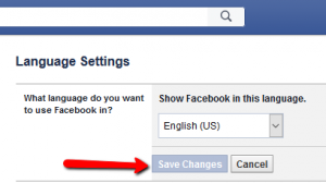 Facebook language settings step five
